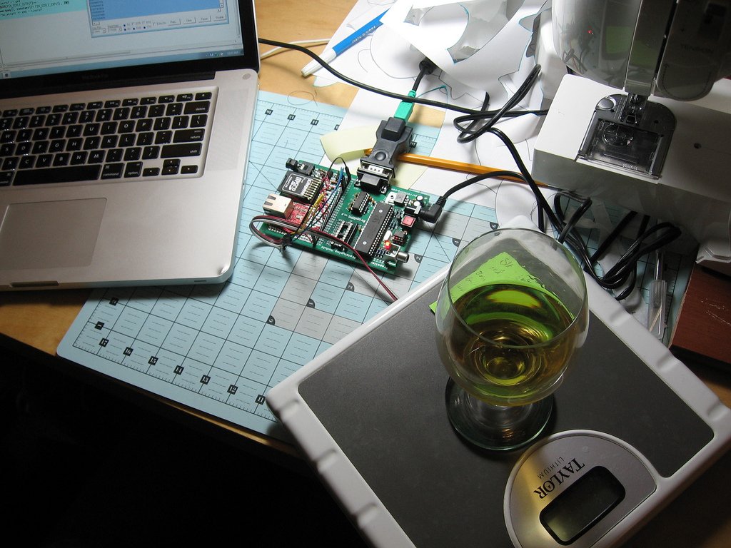 January 2010 Scanlime Pcb Cutting Machine Sewing Modification Electronics Projects Hacking A Digital Bathroom Scale